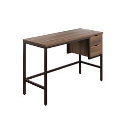 SOHO Home Working Desk with 2 Drawers - Dark Walnut / Black