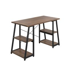 SOHO Home Working Desk with A-Frame Shelves - Dark Walnut / Black