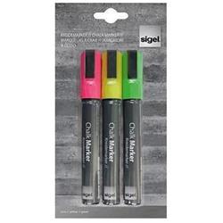 Sigel Chalk Marker Chisel Tip 1-5mm Line Flourescent Assorted [Pack 3]