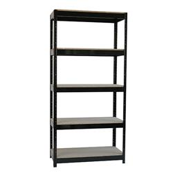 Storage Solutions Black Heavy Duty Boltless 5-Shelf Unit  Ref STS834550