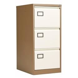 Bisley 3 Drawer Contract Steel Filing Cabinet - Coffee Cream Ref AOC3C/C