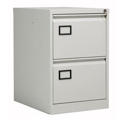 Bisley 2 Drawer Contract Steel Filing Cabinet - Goose Grey Ref AOC2G/G
