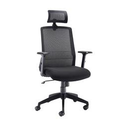 Denali High Back Chair With Headrest - Black Mesh Ref CH3300BK