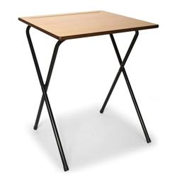 Beech MDF Edge Folding Exam Desk with Safety Bar  600x600mm - Ref TC66ED-PREM-720-NS