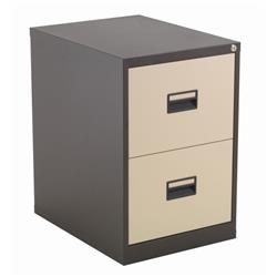 Steel 2 Drawer Filing Cabinet - Coffee Cream Ref TCS2FC-CC