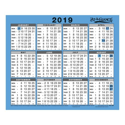 Year To View Calendar 2019 At A Glance 2019 Wall/Desk Calendar Year to View Gloss Board