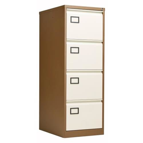 Bisley 4 Drawer Contract Steel Filing Cabinet   Coffee Cream Ref AOC4C/C    AOC4C/C   5056073719719   Euroffice Ltd