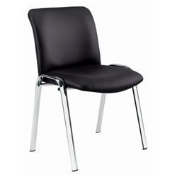 Pavilion Chair - Chrome Frame - Black PU Ref CH0528