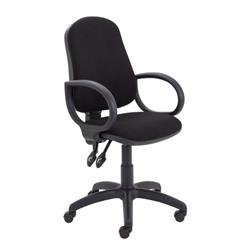 Calypso II High Back Chair with Fixed Arms - Black Ref CH2800BK+AC1002