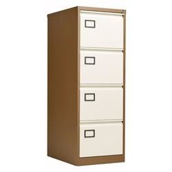 Bisley 4 Drawer Contract Steel Filing Cabinet - Coffee Cream Ref AOC4C/C