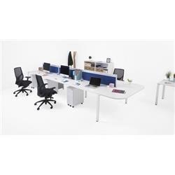 CB 5 Person Single Bench Desk 1200 x 800 - Dark Walnut Top and White Legs Ref CB1280COWHDW/5SP