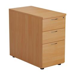 Desk High 3 Drawer Pedestal - 800mm Deep - Beech Ref TESDHP3/800BE
