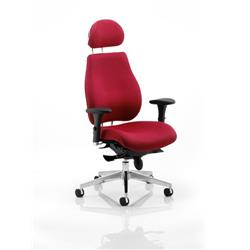 Chiro Plus Ergo Posture Chair Wine With Arms With Headrest Ref PO000025