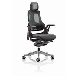 Zure Executive Chair Black Frame Charcoal Mesh With Headrest Ref KCUP1281