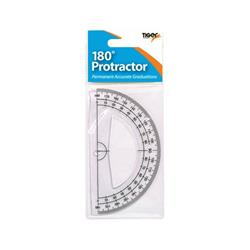 Tiger 180 Degree Clear Plastic Protractor (Pack of 12) 300957