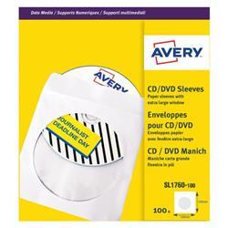 Avery CD/DVD Paper Sleeve Window XL White (Pack of 100) SL1760-100