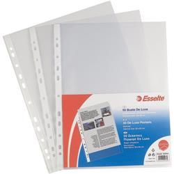 Buste a foratura universale Office Esselte - A5 - 15x21 cm - goffrata - spessore medio - trasparente - conf. 25