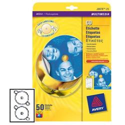Etichette full-face per CD/DVD Avery - laser - bianco - 2 etichette/ff - 100 fogli