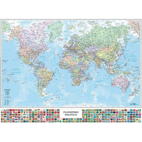 Poster Cartina Geografica Mondo.Poster Geografico Da Muro Belletti Il Mondo 131x97 Cm M09pl