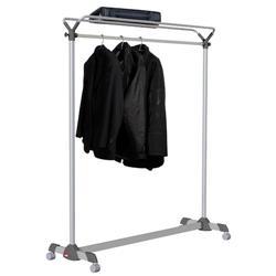 Appendiabiti Reception - Alba - con ruote - grigio  - una barra - 161,4x50x171,5 cm - PMGROUP