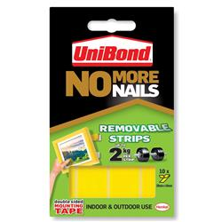 Unibond No More Nails Ultra-Strong Removable Translucent Strips Ref 781739 - Pack 10