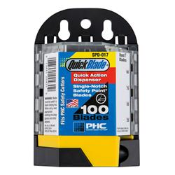 Pacific Handy Cutter Safety Point Blades Dispenser Silver Ref SPD-17 [Pack 100]