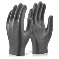 Glovezilla Nitrile Disposable Gripper Glove Black L Ref GZNDG10BLL [Pack 1000]