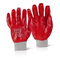 Click2000 PVC Fully Coated Knitwrist 8 Gloves Red Ref PVCFCKWR8 [Pack 100]