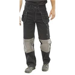 Click Workwear Kington Trousers Multipurpose Pockets Black 42 Ref KMPTBL42