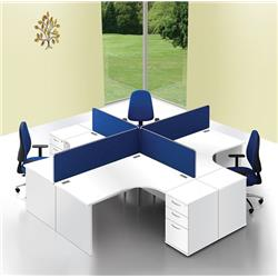 Lyle Desk Mounted 1600mm Screen with Straight Top with Brackets - Blue Ref ZL-ST-1638BLUE