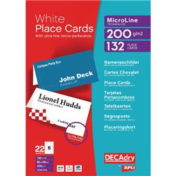 Decadry Perforated Place Cards 200gsm White (132 Pack) DPOCB3713