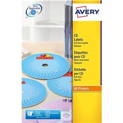 Avery L7676 Laser CD Labels 117mm Dia. Ref L7676-25 - 25 Sheets