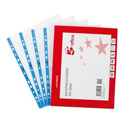 Star Office Punched Pocket Polypropylene Embossed Blue Strip Top-opening 60 Micron A4 Clear Pack 100