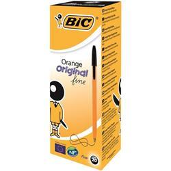 Bic Orange Ball Pen Fine 0.8mm Tip 0.3 mm Line Black Ref 1199110114 Pack 20