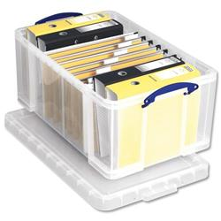 64 L Really Useful Storage Box Plastic Lightweight Robust Stackable 64 Litre W440xD710xH310mm Clear Ref 64C
