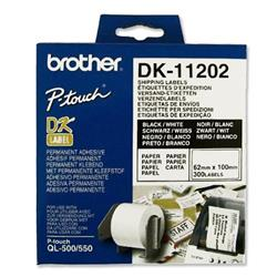Brother DK11202 White Shipping Label 62mm x 100mm Ref DK-11202 - Roll of 300