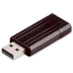 Verbatim PinStripe Drive USB 2.0 Retractable Read 10MB/s Write 4MB/s 16GB Black Ref 49063