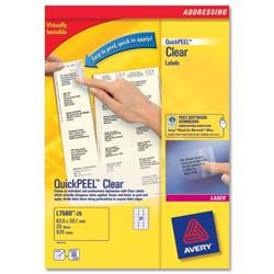 Avery L7560 Clear Laser Labels 63.5x38.1 Ref L7560-25 - Pack 525