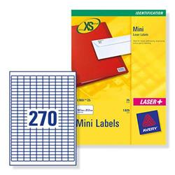 Avery J8659 Mini Inkjet Identification Labels 270 per Sheet Ref J8659REV-25 - Pack 6750