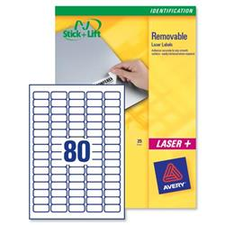 Avery L4732REV Mini Removable Laser Labels 35.6x16.9mm 2000 Labels White Ref L4732REV-25 - 25 Sheets