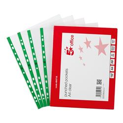 5 Star Office Punched Pocket Polypropylene Green Strip Top-opening 45 Micron A4 Glass Clear [Pack 100]