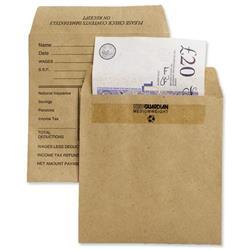 New Guardian Wage Envelopes Press Seal Medium Printed Pocket Manilla 108x102mm Ref E20291 - Pack 1000