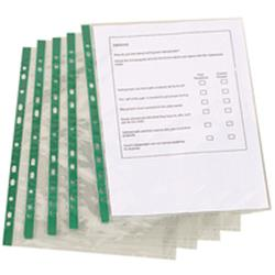 Q-Connect Delux Punched Pocket Top Opening Green Strip A4 Clear 65 Micron (Pack of 100) Ref KF01121