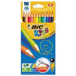 BIC KIDS Evolution Pencils Colour Splinter-proof Wood-free Vivid Assorted Ref 829029 - Wallet 12