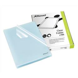 Rexel Cut Flush Folder Polypropylene Copy-secure Embossed Finish A4 Clear Ref 12215 - Pack 100