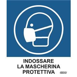 """Adesivo segnaletico Markin """"Indossare la mascherina protettiva"""" - 12,5x15,2 cm - conf. 2"""