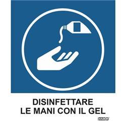 """Adesivo segnaletico Markin """"Disinfettare le mani con il gel"""" - 12,5x15,2 cm - conf. 2"""