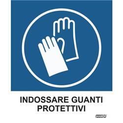 """Adesivo segnaletico Markin """"Indossare guanti protettivi"""" - 12,5x15,2 cm - conf. 2"""