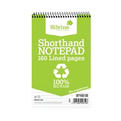 Silvine Everyday Shorthand Notepad Recycled Wirebound Ruled 160pp 70gsm 125x200mm Ref RE160 - Pack 12