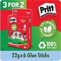 Pritt Stick Medium 22g Glue Stick (6 Pack x 3) 1456071